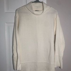cream ribbed cowl neck sweater